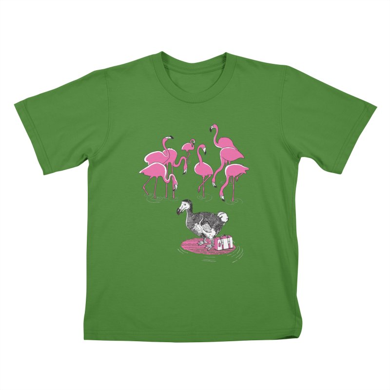 and the Flamingoes Celebrated Kids T-Shirt by John D-C's Artist Shop