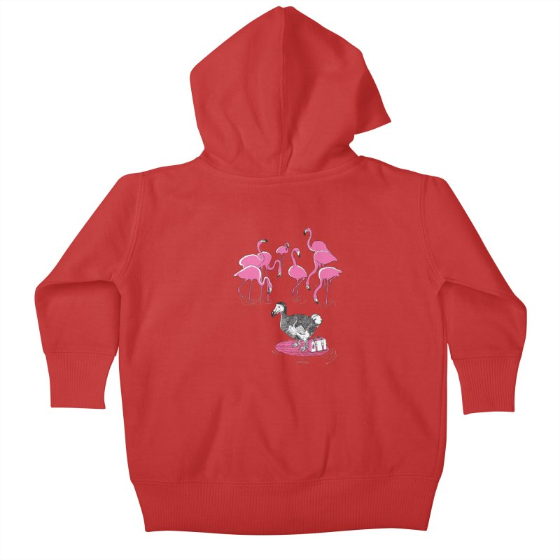 and the Flamingoes Celebrated Kids Baby Zip-Up Hoody by John D-C's Artist Shop