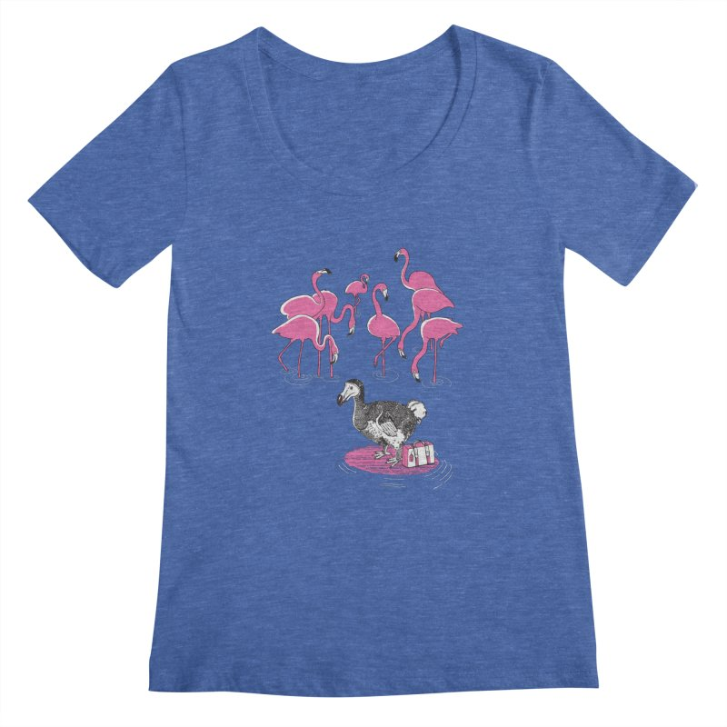 and the Flamingoes Celebrated Women's Scoopneck by John D-C's Artist Shop