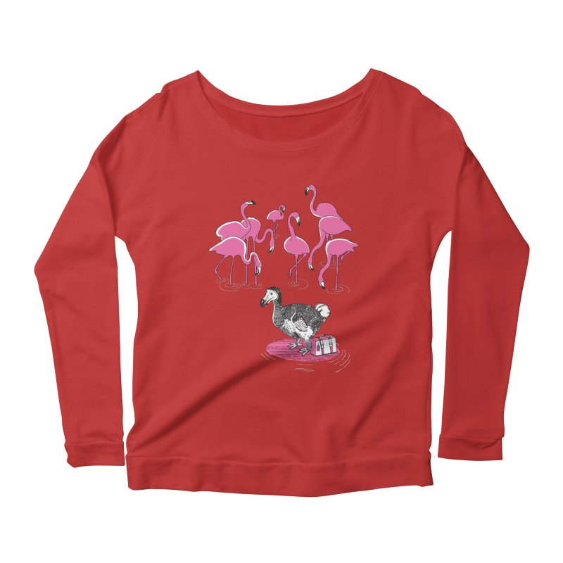 and the Flamingoes Celebrated Women's Longsleeve Scoopneck  by John D-C's Artist Shop