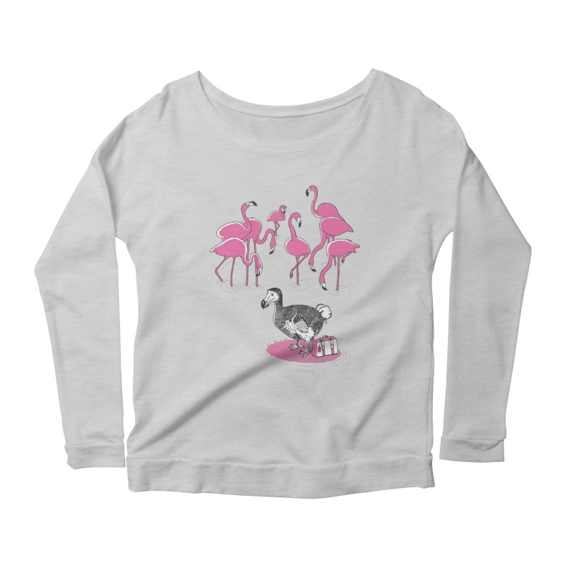 and the Flamingoes Celebrated Women's Scoop Neck Longsleeve T-Shirt by John D-C's Artist Shop