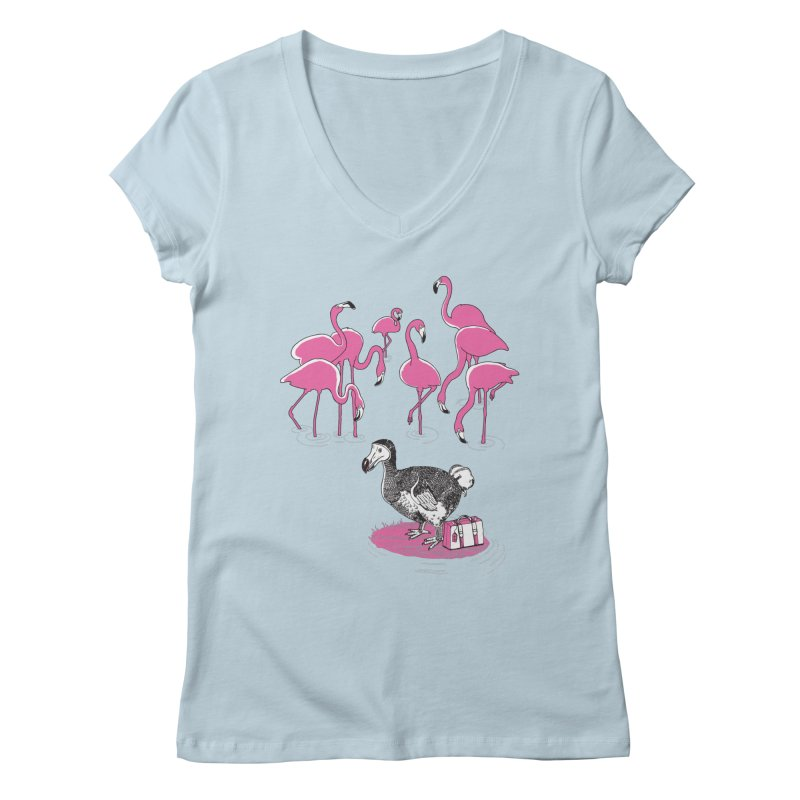 and the Flamingoes Celebrated Women's V-Neck by John D-C's Artist Shop