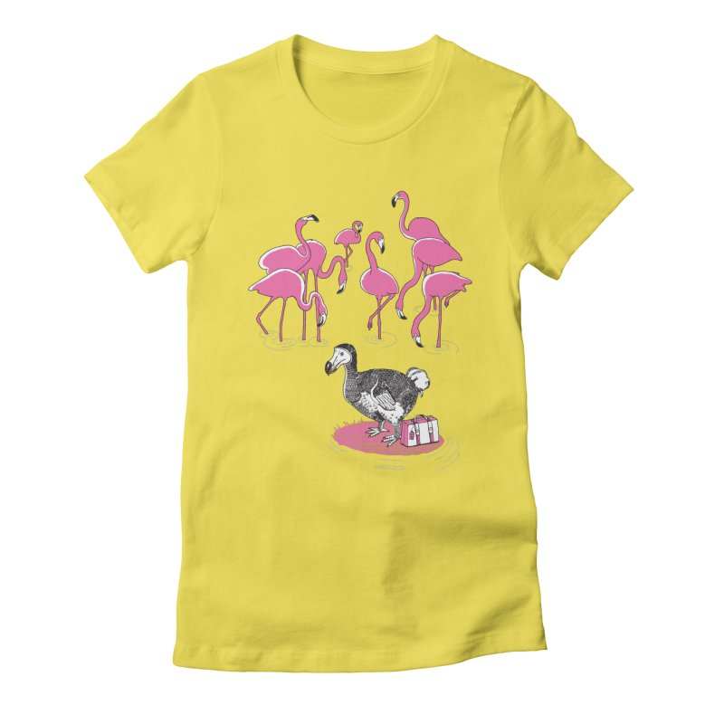 and the Flamingoes Celebrated Women's Fitted T-Shirt by John D-C's Artist Shop