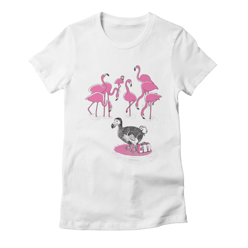 and the Flamingoes Celebrated Women's Fitted T-Shirt by John D-C