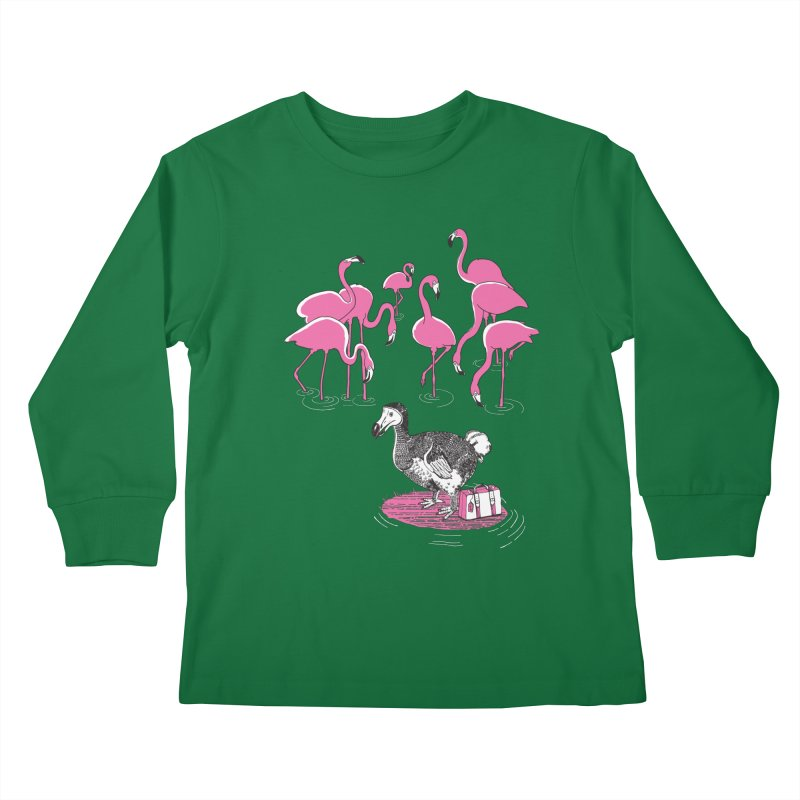 and the Flamingoes Celebrated Kids Longsleeve T-Shirt by John D-C's Artist Shop