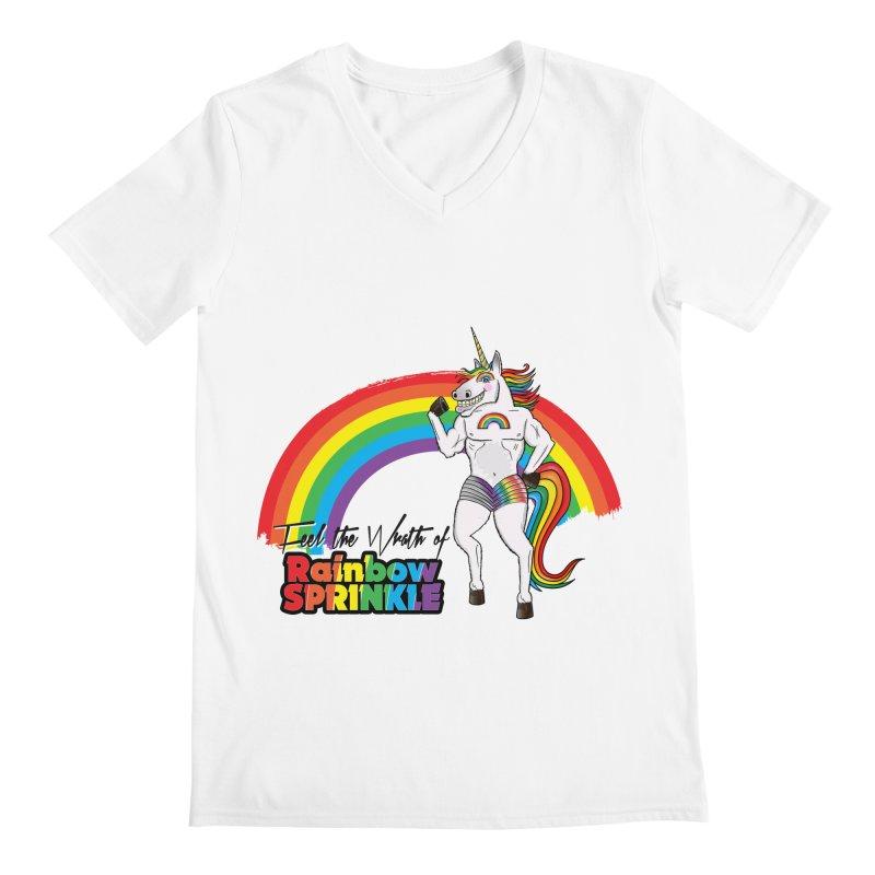 Feel The Wrath Of Rainbow Sprinkle Men's Regular V-Neck by John D-C's Artist Shop