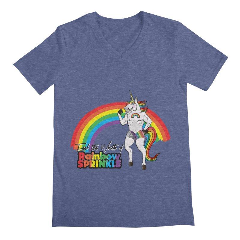 Feel The Wrath Of Rainbow Sprinkle Men's Regular V-Neck by John D-C