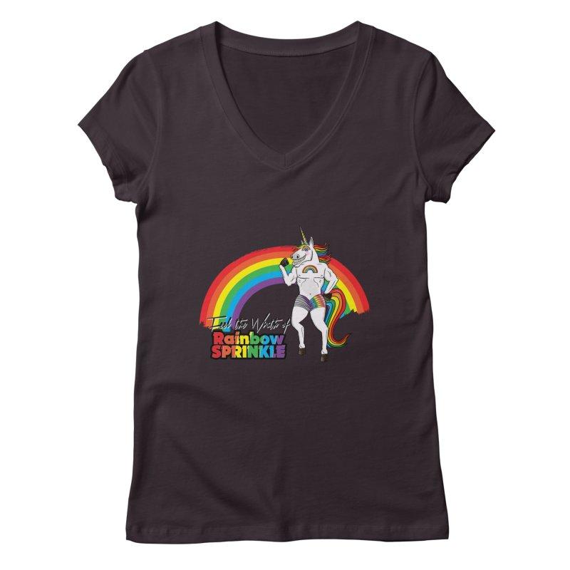 Feel The Wrath Of Rainbow Sprinkle Women's Regular V-Neck by John D-C