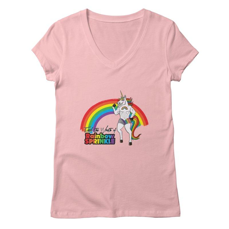Feel The Wrath Of Rainbow Sprinkle Women's V-Neck by John D-C's Artist Shop