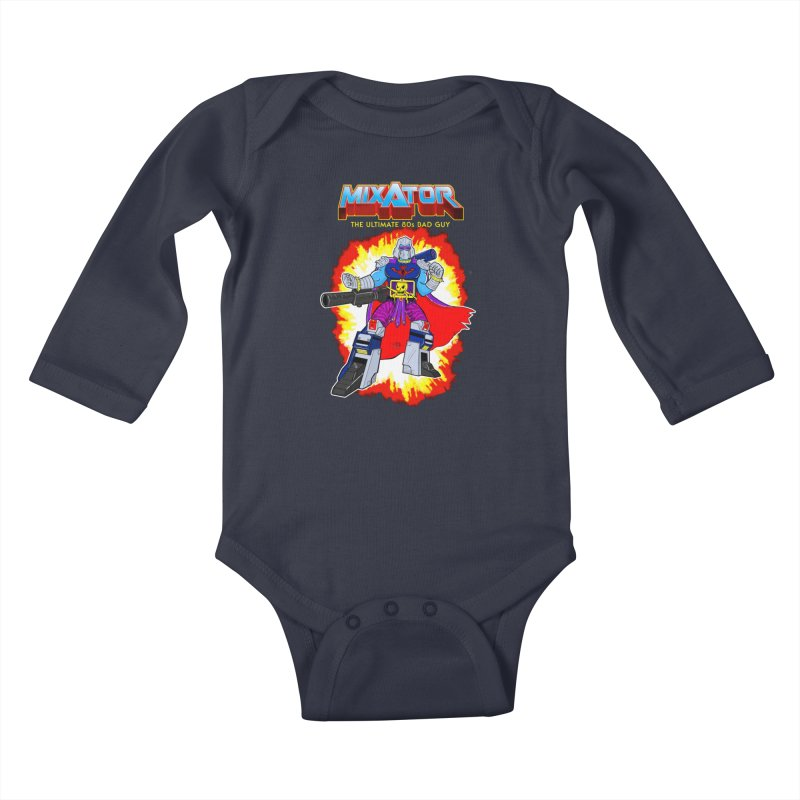 Mixator - The Ultimate 80s Bad Guy Kids Baby Longsleeve Bodysuit by John D-C's Artist Shop