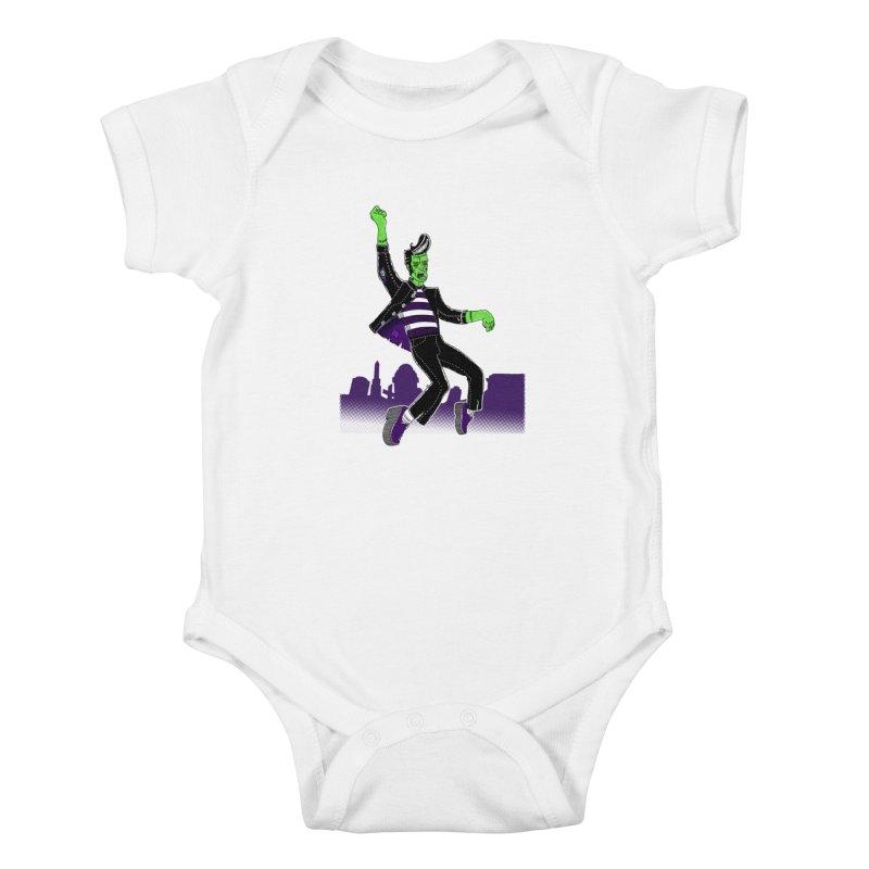 Frankie - Haunted House Rock Kids Baby Bodysuit by John D-C's Artist Shop