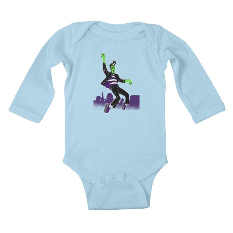 Frankie - Haunted House Rock Kids Baby Longsleeve Bodysuit by John D-C