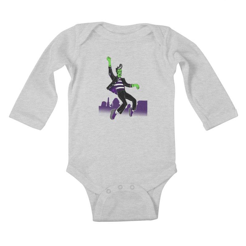 Frankie - Haunted House Rock Kids Baby Longsleeve Bodysuit by John D-C's Artist Shop