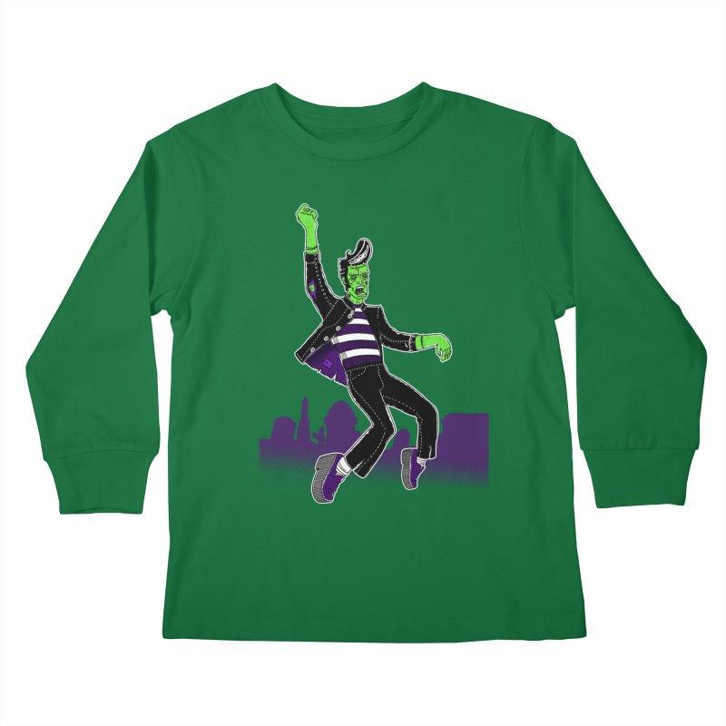 Frankie - Haunted House Rock Kids Longsleeve T-Shirt by John D-C's Artist Shop