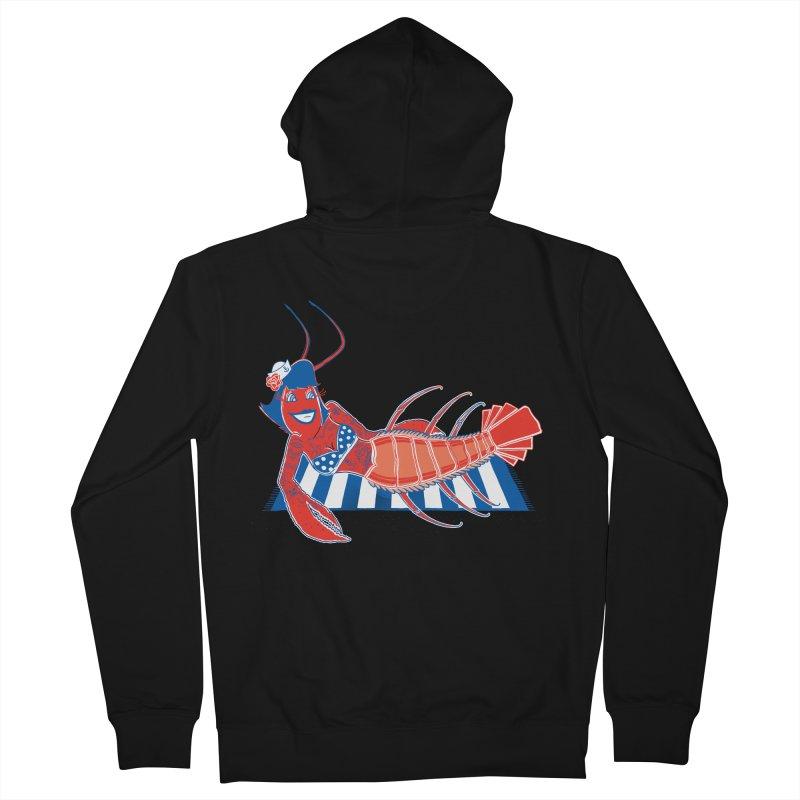 Rockabilly Lobster Men's French Terry Zip-Up Hoody by John D-C's Artist Shop