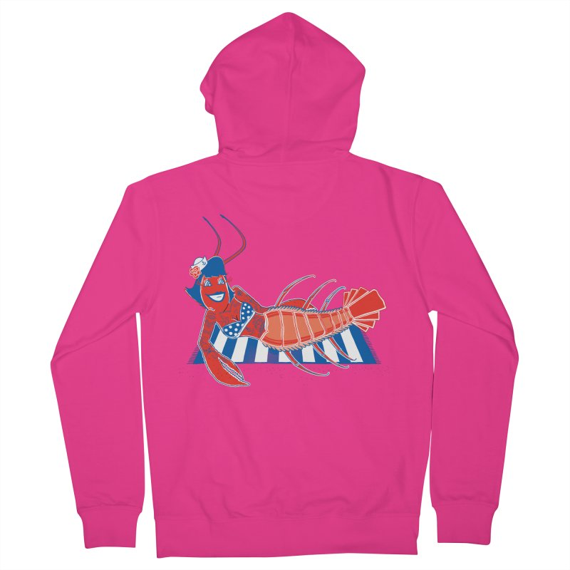 Rockabilly Lobster Men's French Terry Zip-Up Hoody by John D-C's Artist Shop