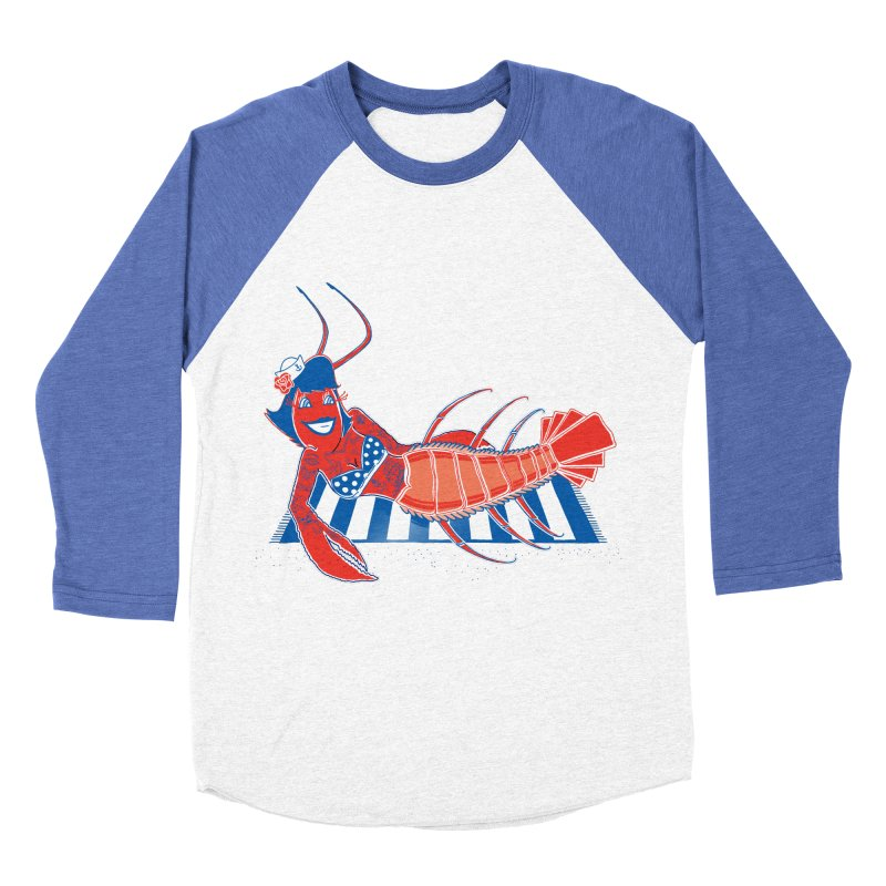 Rockabilly Lobster in Women's Baseball Triblend Longsleeve T-Shirt Tri-Blue Sleeves by John D-C