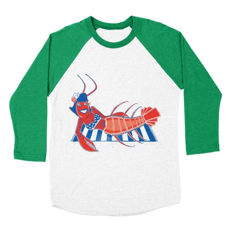 Rockabilly Lobster Men's Baseball Triblend Longsleeve T-Shirt by John D-C