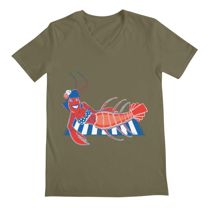 Rockabilly Lobster Men's V-Neck by John D-C's Artist Shop