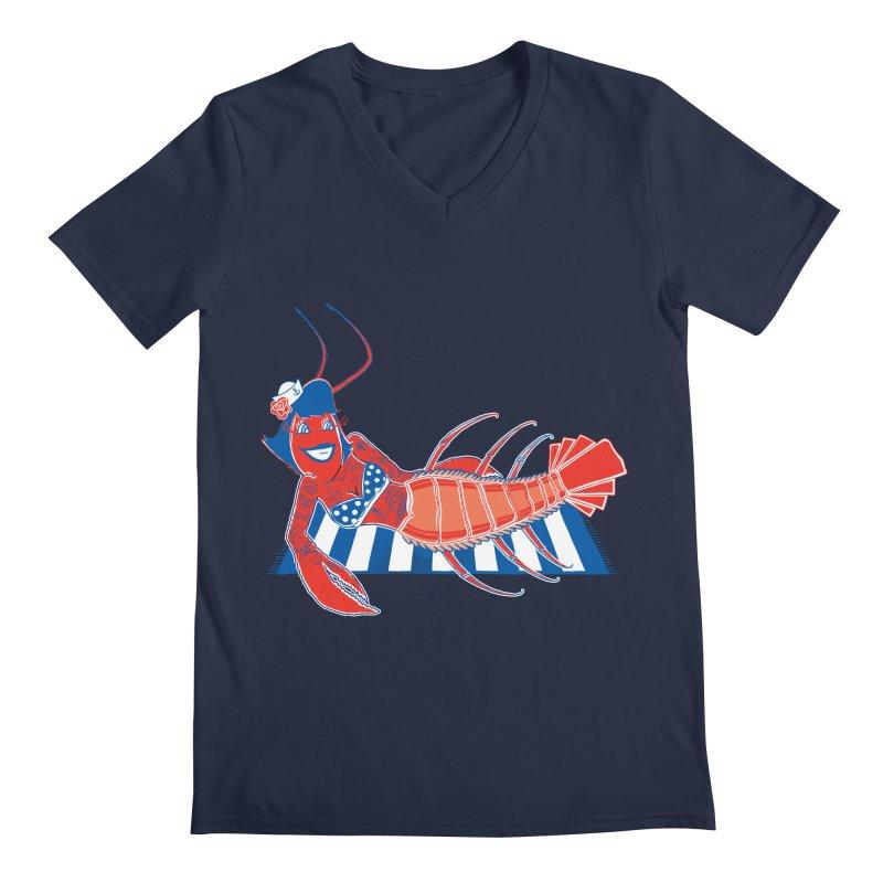 Rockabilly Lobster Men's Regular V-Neck by John D-C