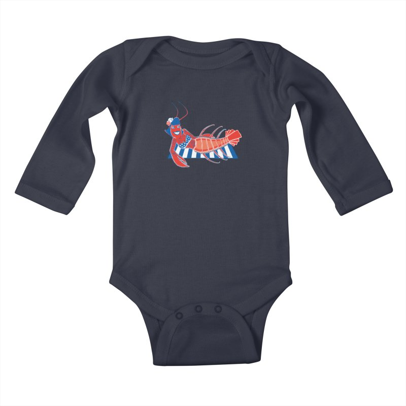 Rockabilly Lobster Kids Baby Longsleeve Bodysuit by John D-C's Artist Shop