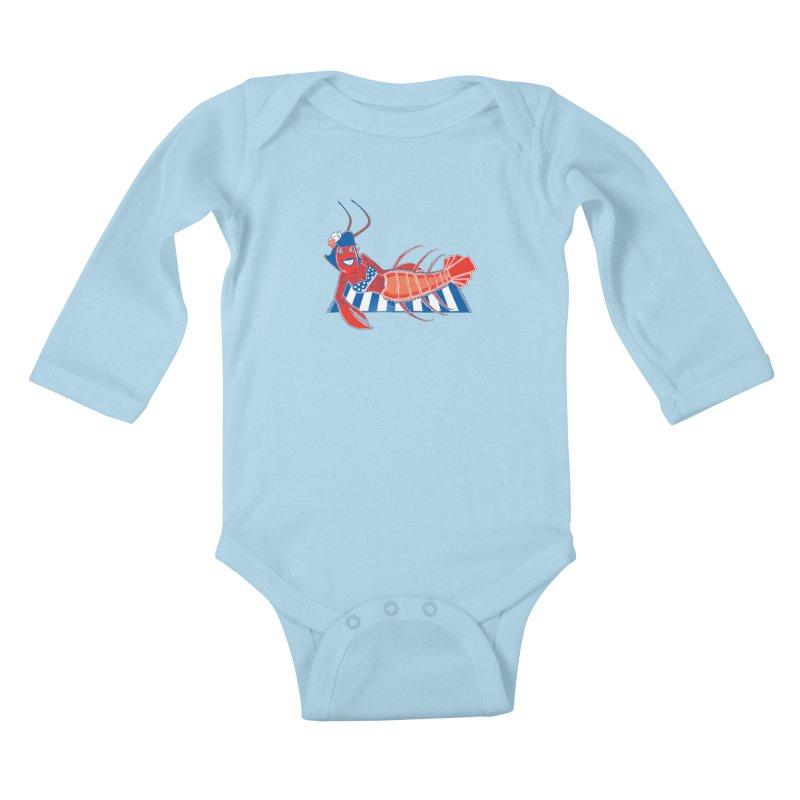 Rockabilly Lobster Kids Baby Longsleeve Bodysuit by John D-C's Artist Shop