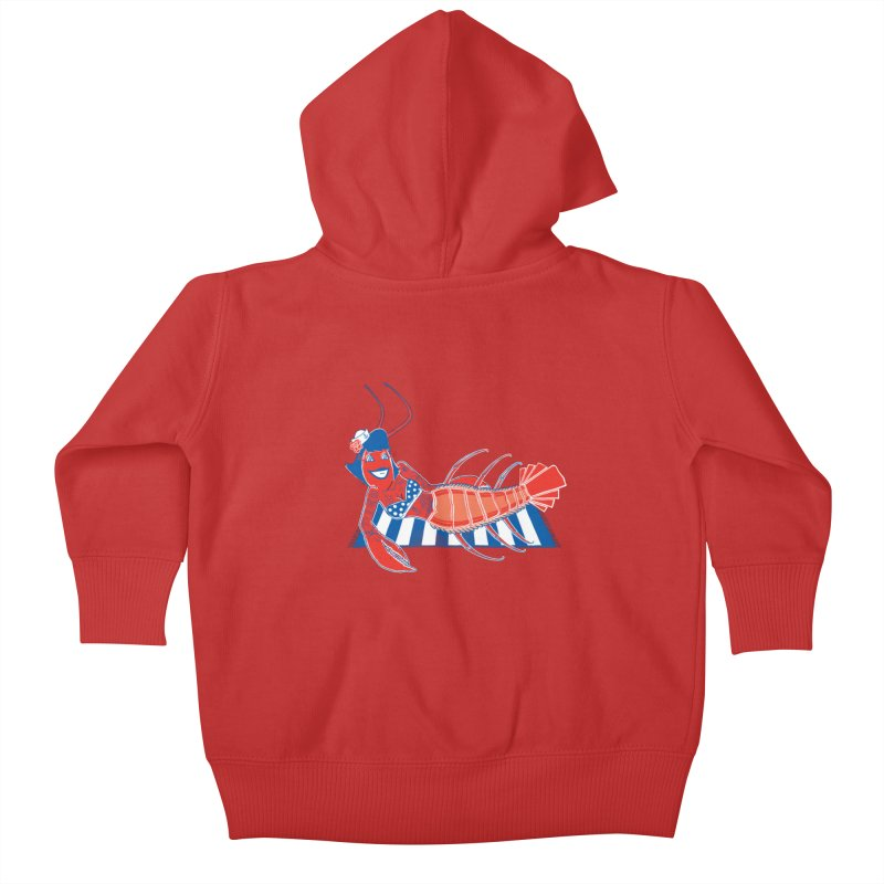 Rockabilly Lobster Kids Baby Zip-Up Hoody by John D-C's Artist Shop
