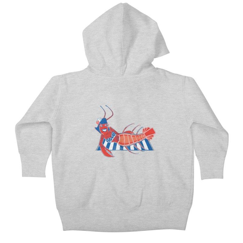Rockabilly Lobster Kids Baby Zip-Up Hoody by John D-C's Artist Shop
