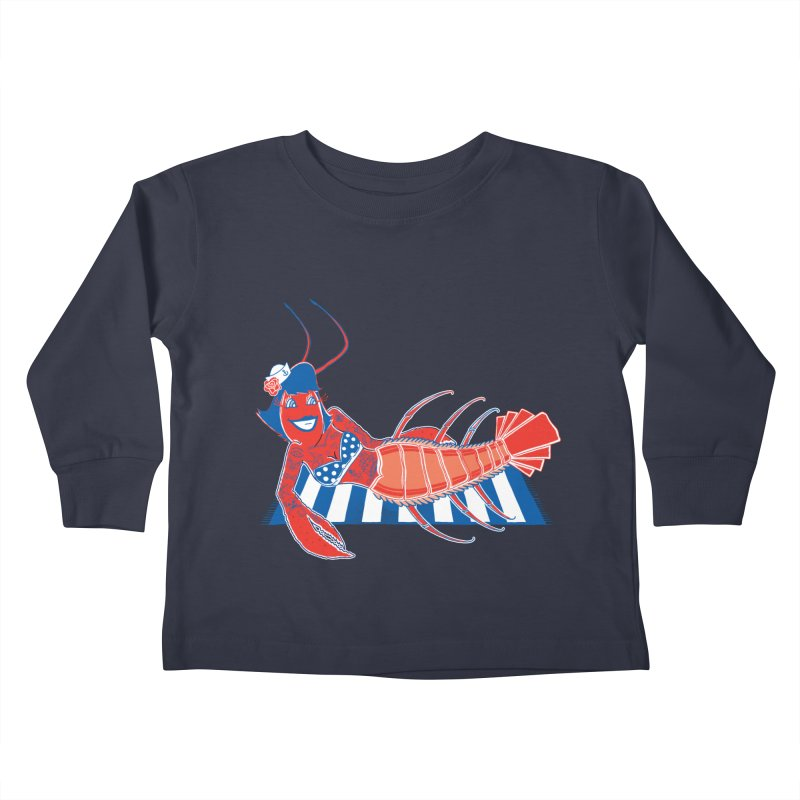 Rockabilly Lobster Kids Toddler Longsleeve T-Shirt by John D-C
