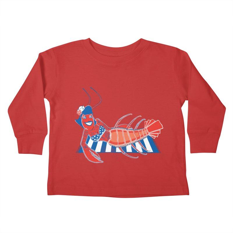 Rockabilly Lobster Kids Toddler Longsleeve T-Shirt by John D-C