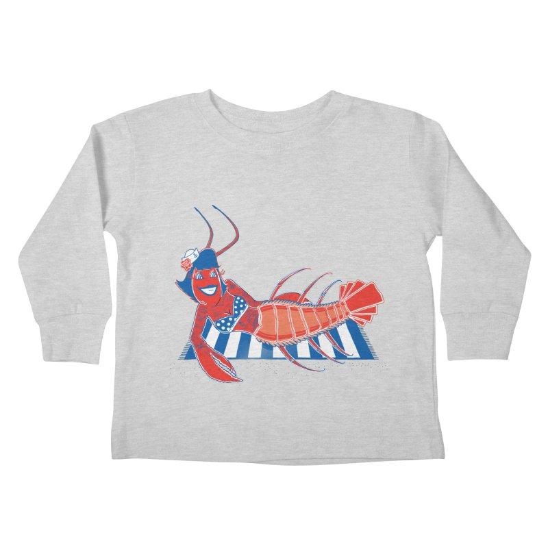 Rockabilly Lobster Kids Toddler Longsleeve T-Shirt by John D-C's Artist Shop