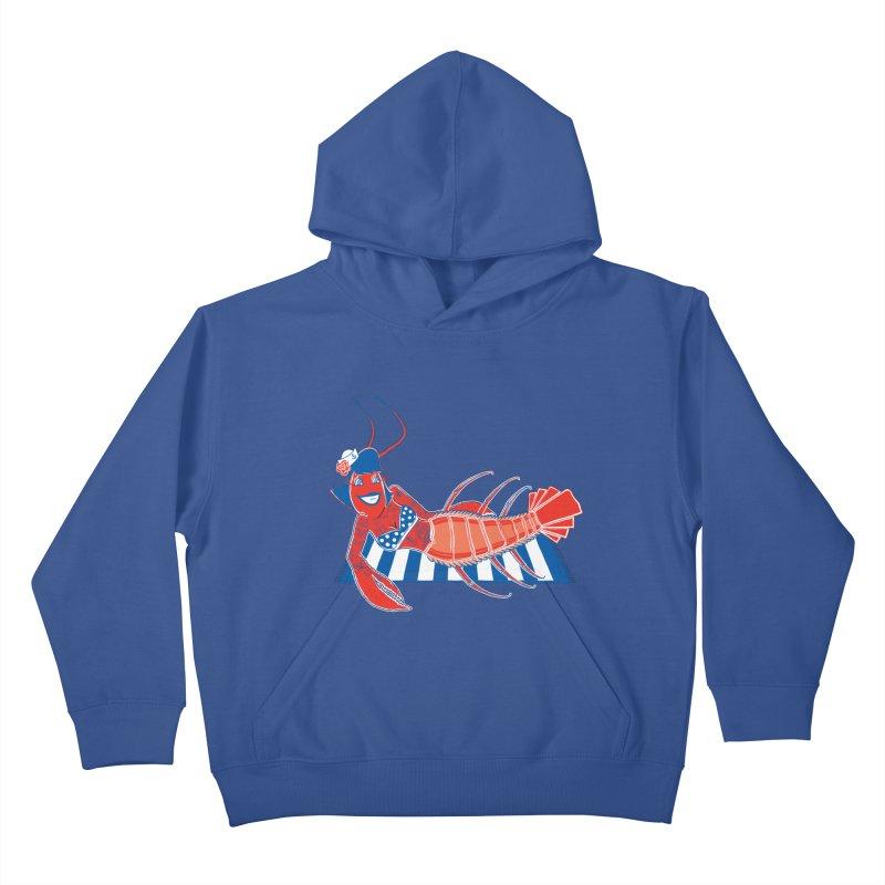Rockabilly Lobster Kids Pullover Hoody by John D-C's Artist Shop