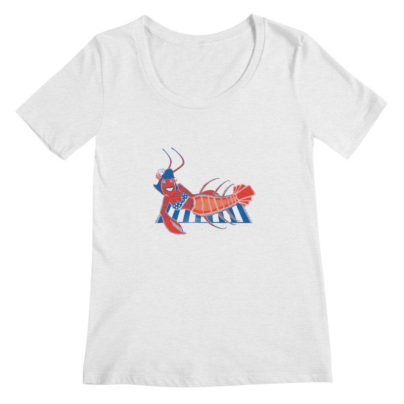 Rockabilly Lobster Women's Scoopneck by John D-C's Artist Shop