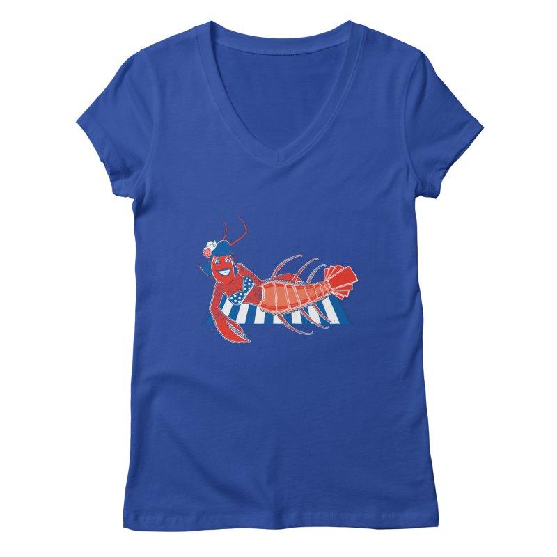 Rockabilly Lobster Women's Regular V-Neck by John D-C