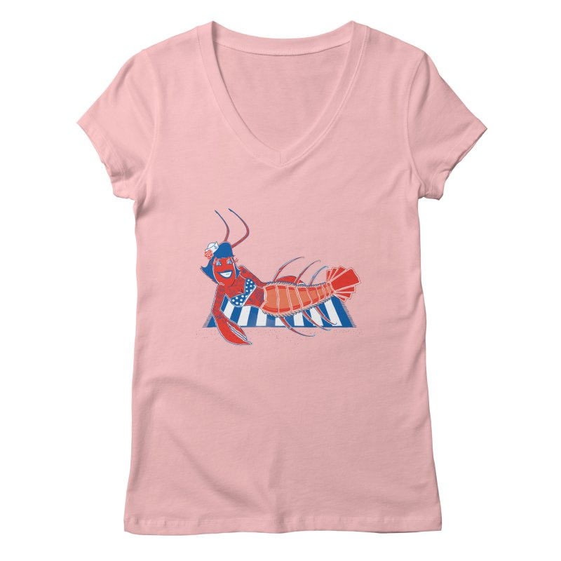 Rockabilly Lobster Women's V-Neck by John D-C's Artist Shop
