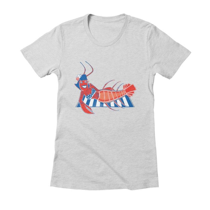 Rockabilly Lobster Women's Fitted T-Shirt by John D-C's Artist Shop