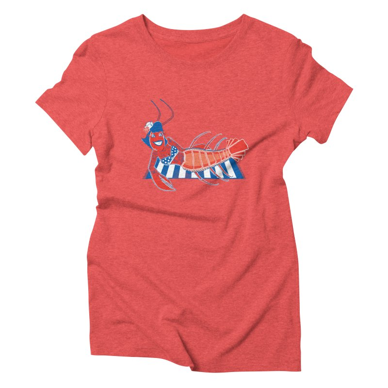 Rockabilly Lobster Women's Triblend T-shirt by John D-C's Artist Shop