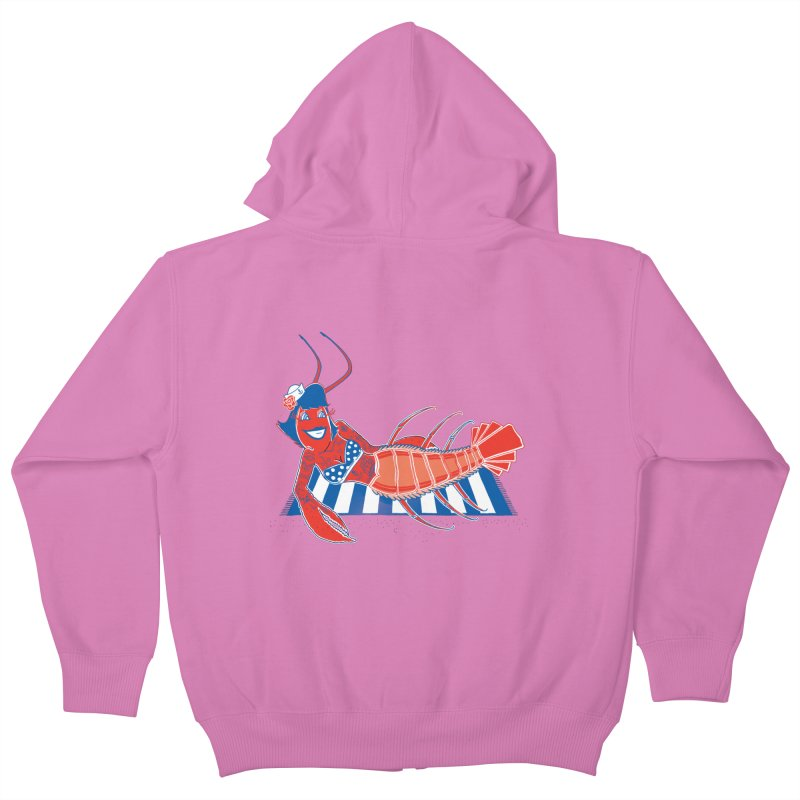 Rockabilly Lobster Kids Zip-Up Hoody by John D-C's Artist Shop
