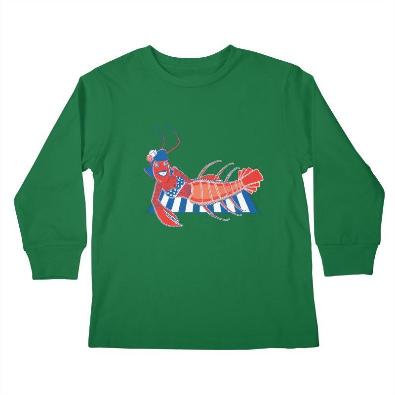 Rockabilly Lobster Kids Longsleeve T-Shirt by John D-C's Artist Shop