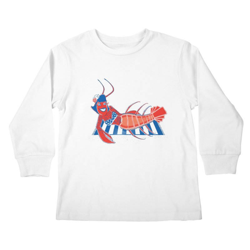 Rockabilly Lobster Kids Longsleeve T-Shirt by John D-C's Artist Shop