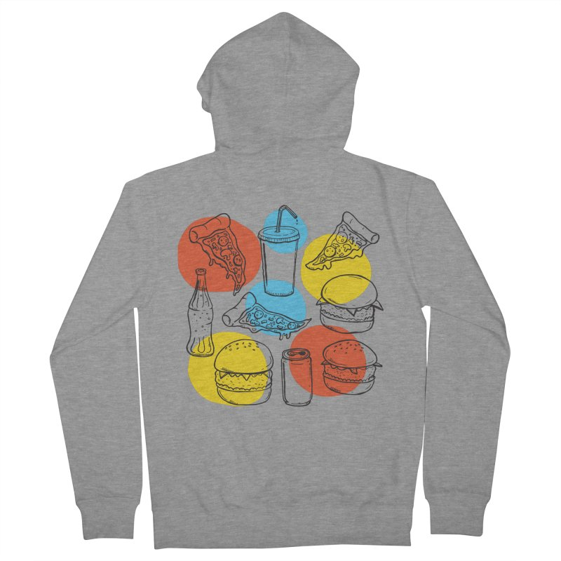 Fast Food Men's French Terry Zip-Up Hoody by John D-C's Artist Shop