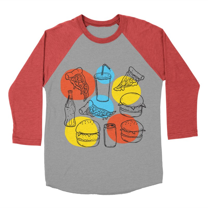 Fast Food Men's Baseball Triblend Longsleeve T-Shirt by John D-C's Artist Shop
