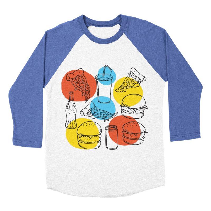 Fast Food Men's Baseball Triblend T-Shirt by John D-C's Artist Shop
