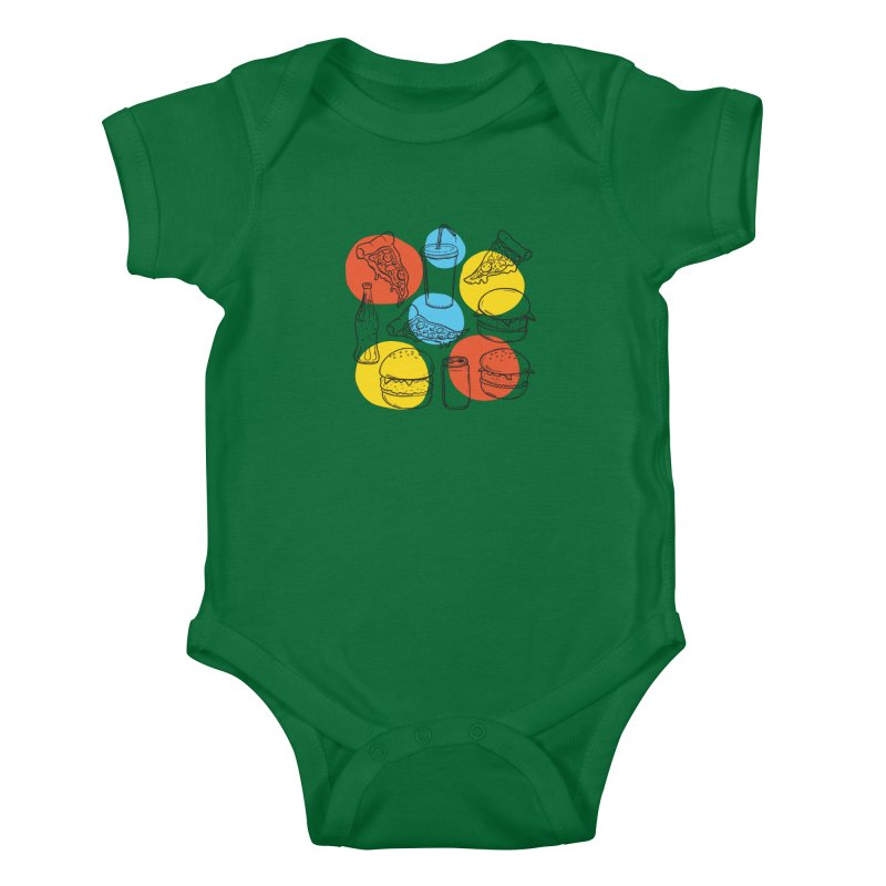 Fast Food Kids Baby Bodysuit by John D-C's Artist Shop