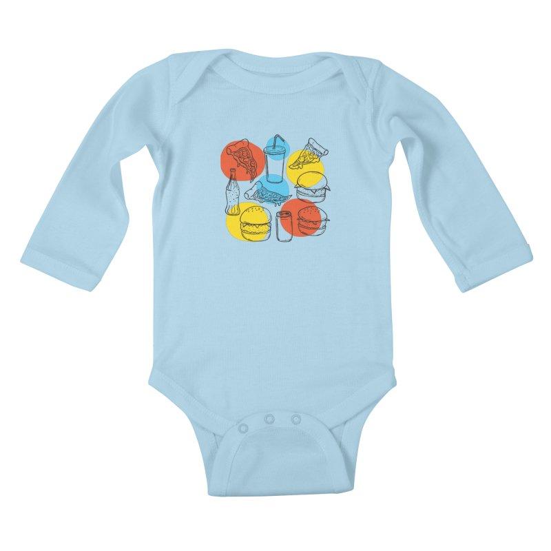 Fast Food Kids Baby Longsleeve Bodysuit by John D-C's Artist Shop