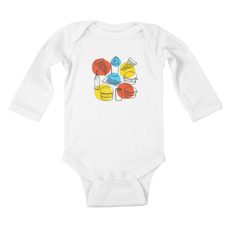 Fast Food Kids Baby Longsleeve Bodysuit by John D-C's Artist Shop