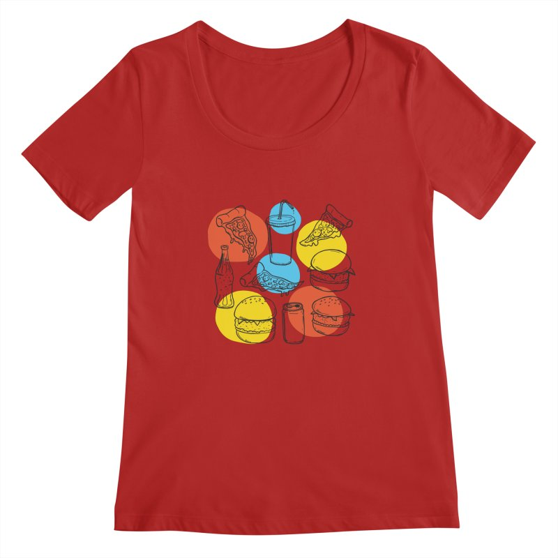 Fast Food Women's Scoopneck by John D-C's Artist Shop