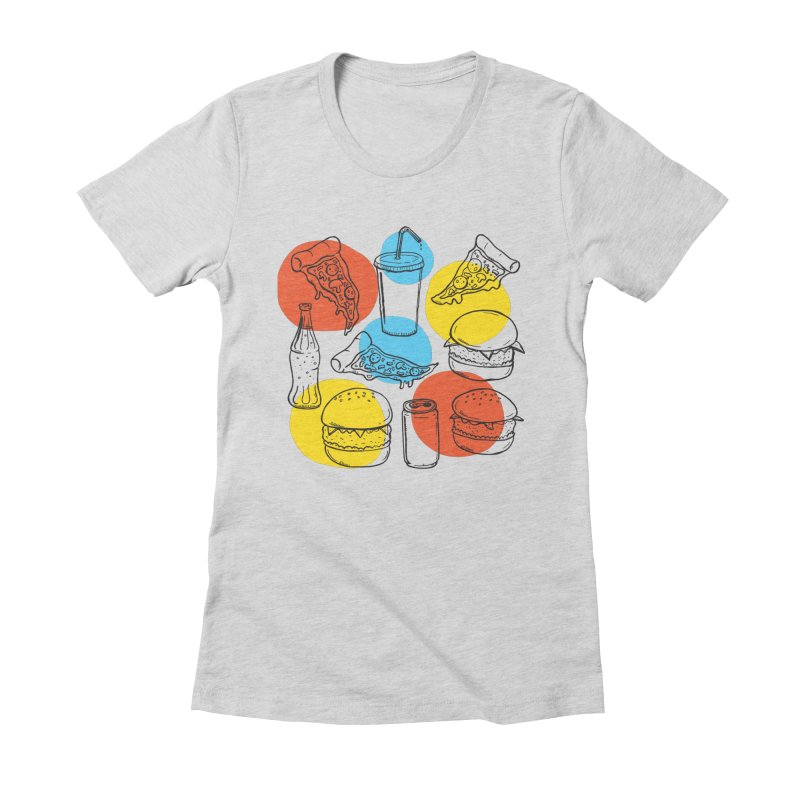 Fast Food Women's Fitted T-Shirt by John D-C's Artist Shop