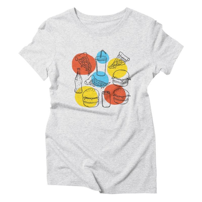 Fast Food Women's Triblend T-Shirt by John D-C's Artist Shop