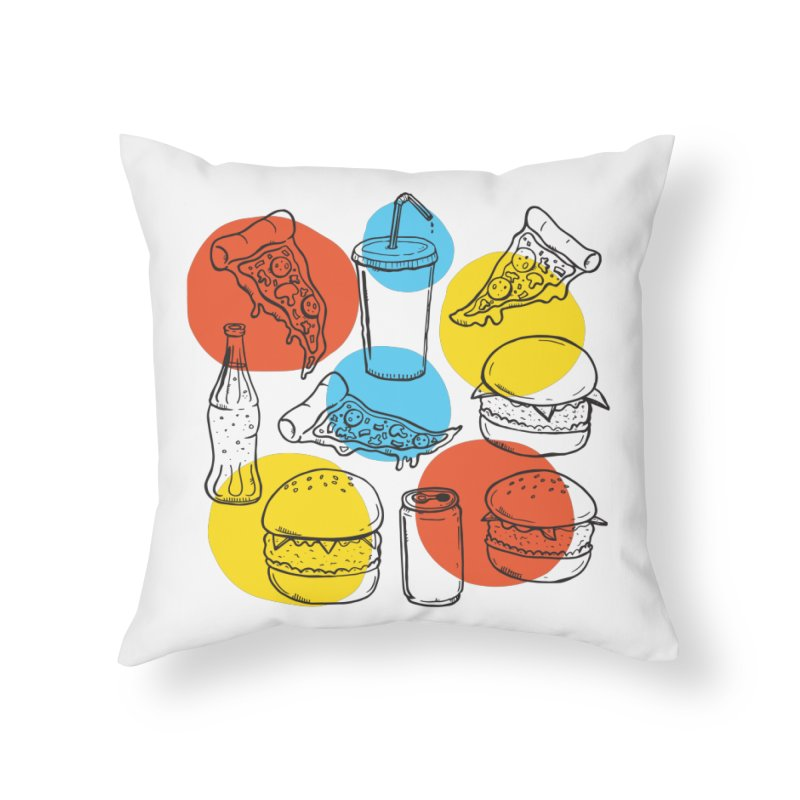 Fast Food Home Throw Pillow by John D-C's Artist Shop